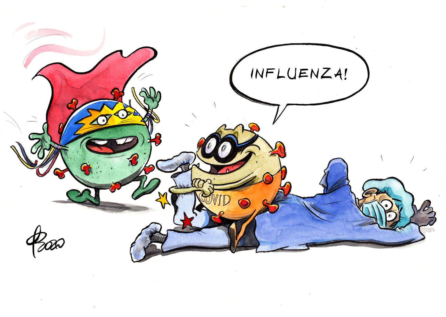 Karikatur Corona Influenza